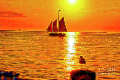 Bachelor Pad Art Photograph - Key West Sunset by Charles Haaland