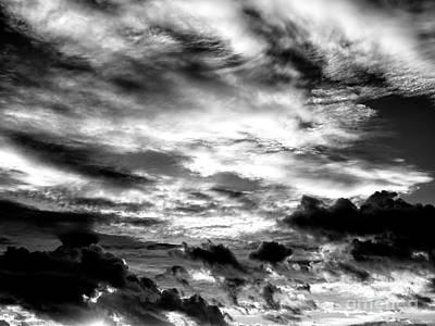 Photograph - Key West Sunset Clouds Monochrome by John Rizzuto