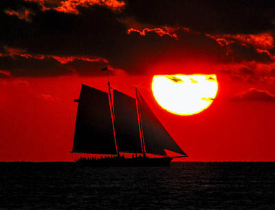 Photograph - Key West Sunset Sail Silhouette by Bob Slitzan