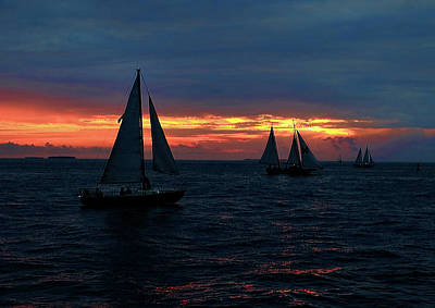 Photograph - Key West Sunset - Ships by Ron Grafe