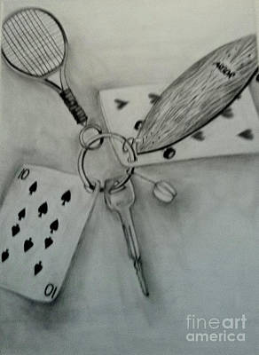 Tennis Racket Drawing - Keychain Of Joy by Yulia Serova