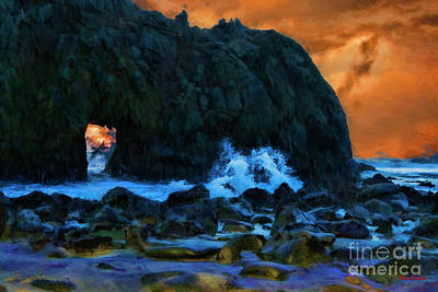 Photograph - Keyhole Arch Art Pfeiffer Beach by Blake Richards