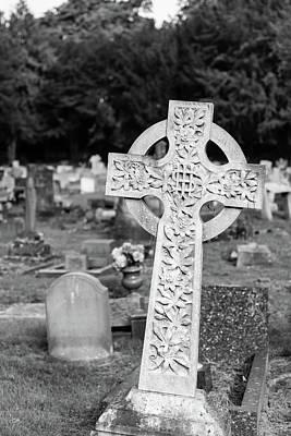 Photograph - Keynsham Cemetery, Black And White Photography, Celtic Cross by Jacek Wojnarowski