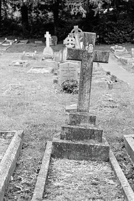 Photograph - Keynsham Cemetery, Black And White Photography, Cross by Jacek Wojnarowski