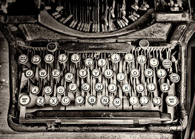 Typewriter Keys Photograph - Keys Bw by Heather Applegate