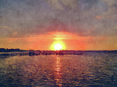 Abstract Seascape Mixed Media - Keys Dock Sunset by Ken Figurski