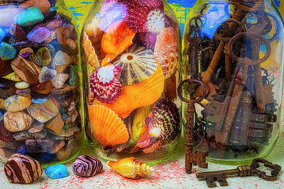 Photograph - Keys Stones And Shells In Jars by Garry Gay