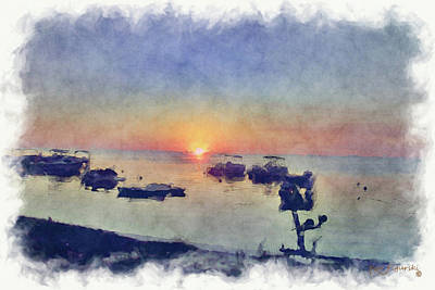 Keys Sunset Watercolor Art Print