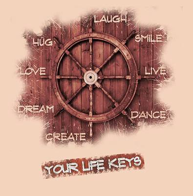 Laugh Painting - Keys To Happiness Typography On Wooden Helm by Georgeta Blanaru