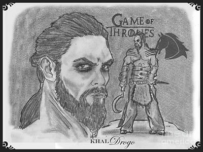 Drawing - Khal Drogo -dothraki Warlord by Chris  DelVecchio