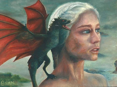Painting - Khaleesi And Child by Brian Nunes