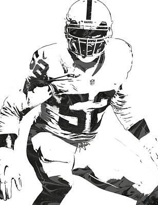 Football Mixed Media - Khalil Mack Oakland Raiders Pixel Art 1 by Joe Hamilton
