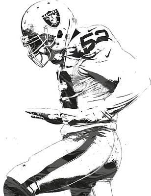 Football Mixed Media - Khalil Mack Oakland Raiders Pixel Art 2 by Joe Hamilton