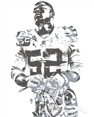Mixed Media - Khalil Mack Oakland Raiders Pixel Art 20 by Joe Hamilton