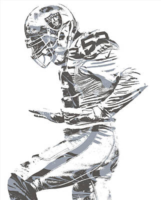 Mixed Media - Khalil Mack Oakland Raiders Pixel Art 22 by Joe Hamilton