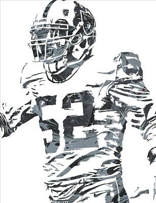 Mixed Media - Khalil Mack Oakland Raiders Pixel Art 4 by Joe Hamilton