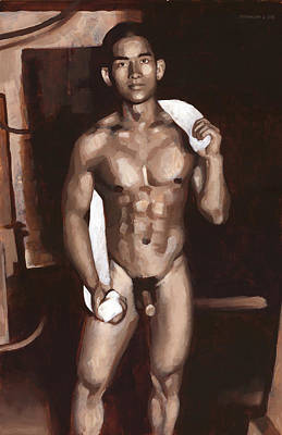 Male Nude Painting - Khanh In My Basement by Douglas Simonson