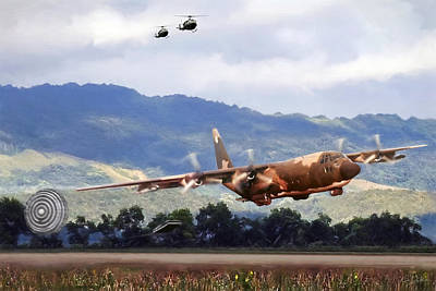 Khe Sanh Lapes C-130a Art Print by Peter Chilelli