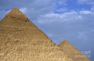 Khephren Pyramid And The Great Pyramid Art Print by Sami Sarkis