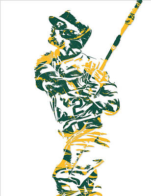 Mixed Media - Khris Davis Oakland Athletics Pixel Art 1 by Joe Hamilton