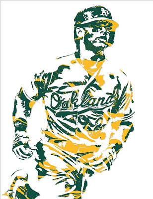 Mixed Media - Khris Davis Oakland Athletics Pixel Art 2 by Joe Hamilton