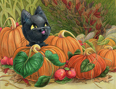 Drawing - Kiba Halloween by Denise Hutchins