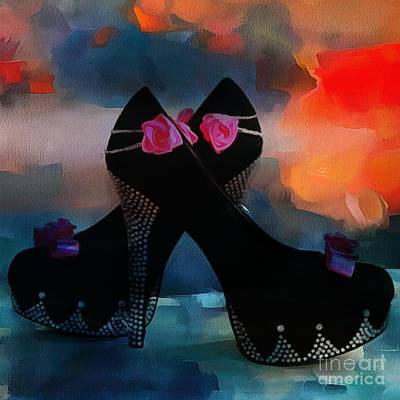 Royalty Free Images Painting - Kickin It In Heels In Thick Paint by Catherine Lott