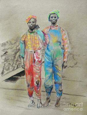 Drawing - Kickin' It -- Black Children From 1930s by Jayne Somogy