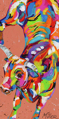 Bucking Bull Painting - Kickin It by Tracy Miller