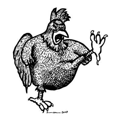 Kicking Chicken Art Print by Karl Addison