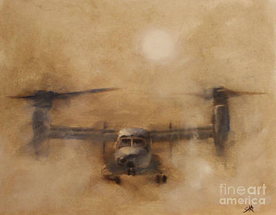 Helicopters Painting - Kicking Sand by Stephen Roberson