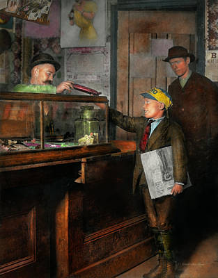 Paper Boy Photograph - Kid - A Visit To The Candy Store 1910 by Mike Savad