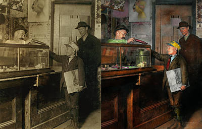 Paper Boy Photograph - Kid - A Visit To The Candy Store 1910 - Side By Side by Mike Savad