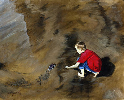Painting - Kid And The Crab by Sara Stevenson