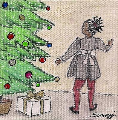 Mixed Media - Kid At Christmas Tree by Jayne Somogy