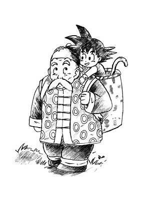 Kid Goku And Grandpa Gohan Art Print by Manuel Rubio