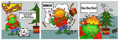 Kid Monsta Xmas Triptych Art Print