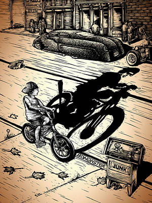 Bike Drawing - Kid Shadow by Bomonster