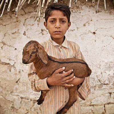 Kid With Goat Art Print