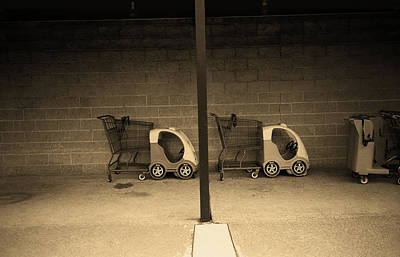 Photograph - Kiddie Carts Behind Stop And Shop Sepia 2018 by Frank Romeo