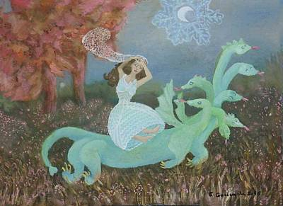 Kidnap Painting - Kidnapped By A Dragon by Elzbieta Goszczycka