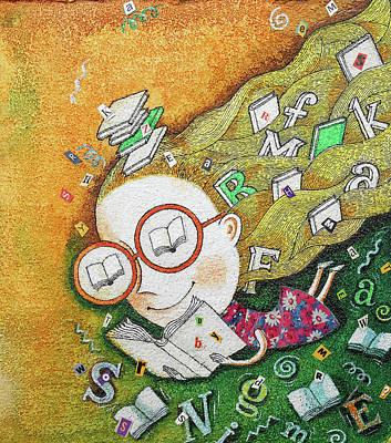 Kids And Books Art Print