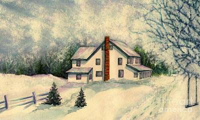 Wintertime Painting - Kids Are Home by Janine Riley