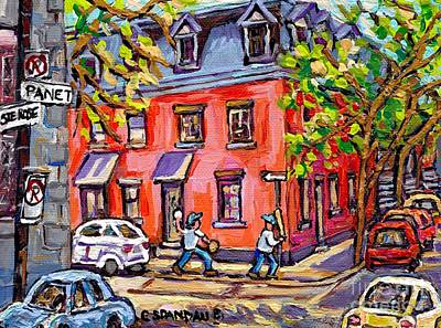 Baseball Scene Painting - Kids Baseball Paintings Sunlit Summer Scene Pink House At Panet And Ste Rose Best Canadian Art  by Carole Spandau