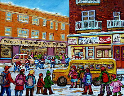 Canadian Sports Artist Painting - Kids Boarding Yellow School Bus Frannie's Cafe And Cantor's Monkland Street Hockey Canadian Art    by Carole Spandau