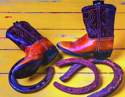 Photograph - Kids Boots And Horse Shoes by Garry Gay