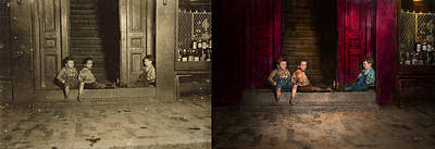 Chillin Photograph - Kids - Boston Ma - Jest Hanging Around 1909 - Side By Side by Mike Savad
