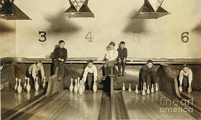 Bowling Alley Photograph - Kids Bowling Circa 1900 by Jon Neidert