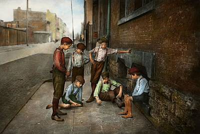 Photograph - Kids - Cincinnati Oh - A Shady Game 1908 by Mike Savad