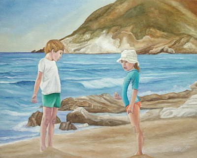 Surfing Art Painting - Kids Collecting Marine Shells by Angeles M Pomata